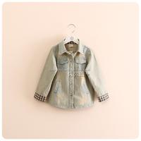 Korean children's clothing wholesale 2014 autumn ~ girls fight plaid vintage denim jacket