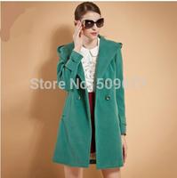 2014 autumn and winter slim medium-long woolen outerwear women's fashion hooded woolen overcoat