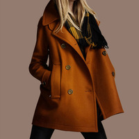 Fashion autumn and winter women woolen slim double breasted overcoat woolen outerwear female coat