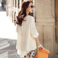 2014 women fashion autumn chiffon basic shirt sweater cutout medium-long faux two piece set outerwear female