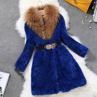 Winter Jacket Women 2014 New Fashion Large Raccoon Fur Collar and Rabbit Fur Fur Coat  Plus Size Slim Long Outerwear Parka XXXL