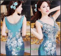 Evening dress 2014 new crystal wedding toast the bride dress vestido de noite free shipping a009