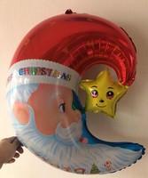 2014 new 100% high quality 10pcs moon stars Santa Claus Cartoon Decoration foil balloon Christmas Theme party balloons