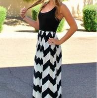 Free Shipping Women Long Stripe Dress Slim Round Neck Sleeveless Summer Casual Dress Slim Wave Pattern Long Party dress