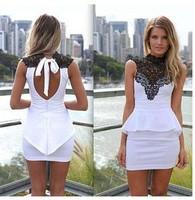 New Fashion Women Lace Dress 2014 Party Halter Mini Sleeveless Novelty A-Line Slim Casual Summer Lady Club Dress