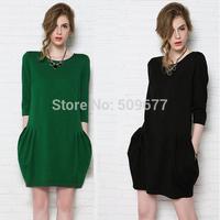 Fashion 2014 autumn and winter plus size half sleeve OL girl women's one-piece dress loose elegant short female S-4XL
