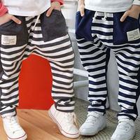 Free shipping 2014 autumn stripe color block decoration boys clothing baby child long trousers harem pants kz-3138