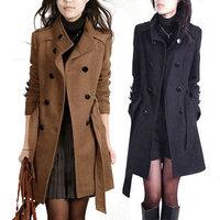 2014 winter new Korean ladies temperament Slim woolen jacket and long sections woolen coat free shipping