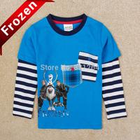 Retail Nova kids Cartoon Frozen Olaf T-shirt Boys Long Sleeve Cotton Tees Tops Children Frozen Stirped T- shirts