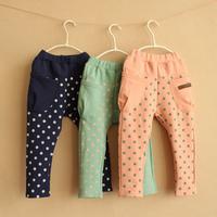 Free shipping 2014 autumn polka dot girls clothing baby child long trousers harem pants kz-2397