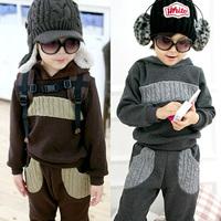 Free shipping 2014 autumn and winter patchwork boys clothing baby child fleece casual sweatshirt set tz-0517