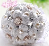 New Fashion Gorgeous crystal rose wedding bouquets bride dress white bouquet bridal ball-flower accessories valentine's day