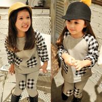 Free shipping 2014 autumn patchwork plaid boys clothing girls clothing baby child casual set tz-1303