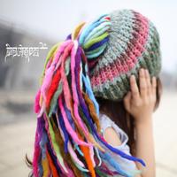 2014 Limited Edition Handmade Hemp Reggae Wool Braided Hat for Women Colorful Striped Winter Warm Beanie Black/Beige/Gray