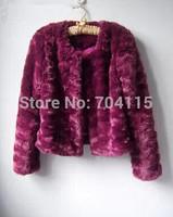 Wine red bridal wear rex rabbit fur short design faux fur coat