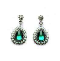 2014 New Hot Zinc Alloy Jewerly  Drop Earrings for Women European style Green Rhinestone Ornaments 807011 Free Shipping