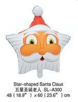2014 new 100% high quality 50pcs stars Santa Claus Cartoon Decoration theme foil balloon Christmas Children's toy balloon