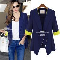 New Korean Version Slim Patchwork Zipper Three Qiarter Thin Fashion Ladies Office Blazers Autumn Coat 6348