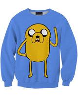 New 2014 Fashion Autumn Women's Cartoon 3D Print Cute Casual Sweatshirts Men Adventure Time Pullover Hoodies Lovers wear S-G16