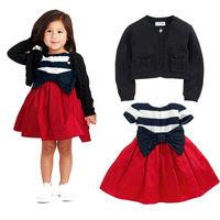 wholesale 5set/lot gril's clothes short sleeve striped dress cardigan 2pcs set baby clothes ,dress set kids clothes