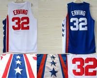 Free Shipping Brooklyn 32 Julius Erving ABA Throwback Basketball Jerseys, Cheap Brand Mesh Embroidery Logo Julius Erving Jersey