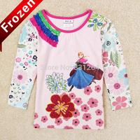 New 2014 Nova Kids Girl T shirt 2-6yrs Girls Frozen Elsa Anna Princess t-shirts Child Clothes Fashion Girls Clothing