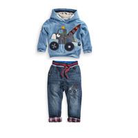 wholesale 5pcs/lot boy's clothes hoodies pants 2pcs set baby clothes ,long sleeve denim kids set clothes