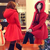 2014 NEW winter Jacket Women Cotton coats Slim Office Ladies Medium-long Fashion Coats Hooded High Waist women parka Q166