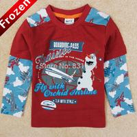 one piece retail 2014 nova brand 100% cotton fashion frozen t-shirt boy's long sleeve Kristoff & Sven t-shirts drop shipping