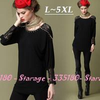L-5XL Brand Vintage Black Beaded patchwork Lace T-shirt Women Batwing Top 2014 Autumn Plus Size Women Clothing 0207
