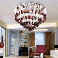 free shipping Guarantee led gu10 K9 crysta  High quality modern luxury crystal ceiling light   Purple led lighting crystal