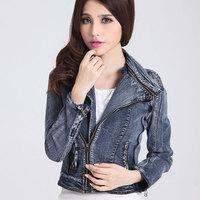 2014 new  Slim  long-sleeved women denim jacket female