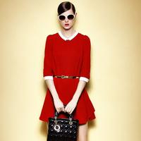 2014 Autumn New Vestido Feminino Casual Plus Size Peter Pan Collar Loose Sashes Elegant Women Office Mini Dress 5912