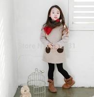2014 fashion korea designer girls cut straight dress christmas dress lamb thick warm bottom shirt for autumn winter