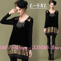 L-5XL Brand Luxury Diamond Beaded Golden Velvet Patchwork Long Sleeve Bud Casual Dresses 2014 Plus Size Women Clothing 0127