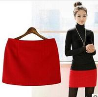New 2014 Autumn Winter Woolen Women Short Mini Skirts Slim Hip Classic Fashion Brand Wool Basic Skirt Plus Size Many Colors