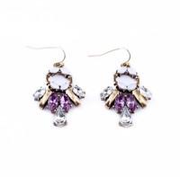 2014 New Hot Zinc Alloy Jewerly  Drop Earrings for Women European style Purple Rhinestone Ornaments 803004 Free Shipping
