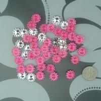 Free Shipping 1000 Dark Pink 11mm Sunflower Rhinestone Plastic Bead Craft Baby shower Scrapbooking