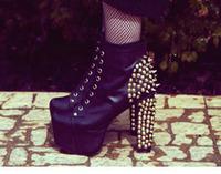 Free shipping, Hot sale High quality jeffrey fashion 12.5cm high heel platform ankle rivet women motorcycle boots