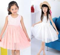 2014 new Summer baby girls dress kids vest rose flower princess dress party on sale children dress D007 tutu dress free shipping