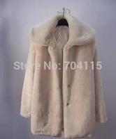 Large lapel medium-long eco-friendly artificial leather outerwear