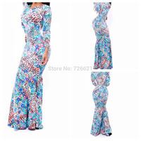 New 2015 Women American Europe Summer Autumn Sexy Party Bodycon Bandage Dress dovetail Mermaid Floor Length Print Maxi Dresses