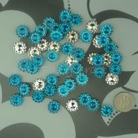 Free Shipping 1000 Turquoise Blue 11mm Acrylic Sunflower Rhinestone Bead Craft  Baby Shower DIY Scrapbooking Favor