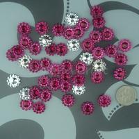 Free Shipping 1000 Fushia 11mm Acrylic Sunflower Rhinestone Bead Craft  Accessories DIY Scrapbooking Favor