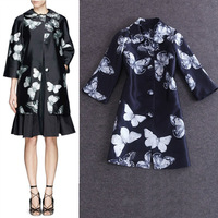 Free shipping 2014 autumn women runway butterfly print three quarter sleeve long design trench