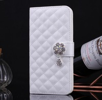 Newest S 5 Luxury diamond bling skin wallet case for Samsung galaxy S5 i9600 glossy PU leather flip cover cellphone bags cases