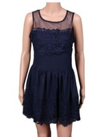 New Fashion Women Dress 2014 Hot Sale Sleeveless Summer Tank Casual Party Dress O-Neck Lady Evening Dress Free Shipping