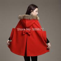 2014 autumn and winter women wool coat loose plus size cloak outerwear medium-long fur collar woolen overcoat