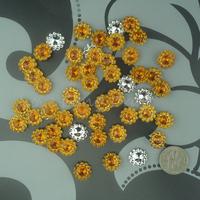 Free Shipping 1000 Gold 11mm Acrylic Sunflower Rhinestone Bead Craft  Baby Shower DIY Scrapbooking Favor