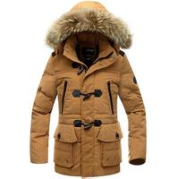 MMY20 2014 new coat super warm winter outdoor men horn button down jacket hooded mink fur collar long down jacket